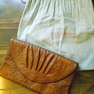 Lauren Merkin Authentic Ava Ostrich Clutch Handbag
